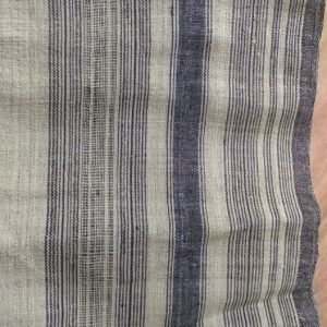 Black/Blue stripe hemp fabric handwoven vintage nature textile by yard & wholesale
