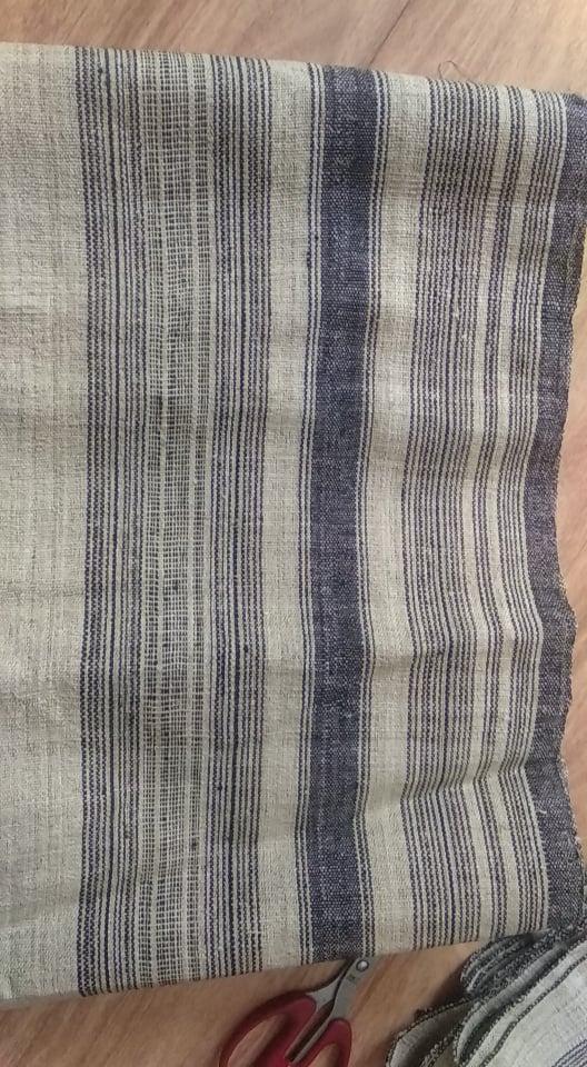 Black/Blue stripe hemp fabric handwoven vintage nature textile by yard & wholesale
