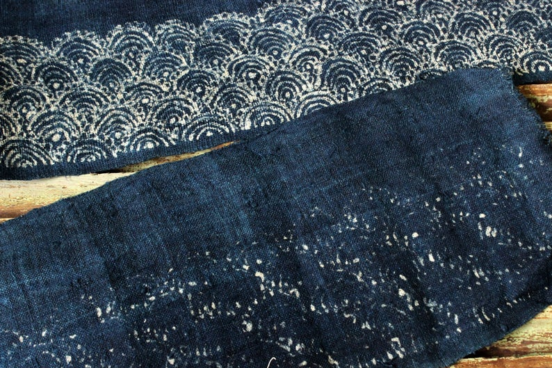 Thai Hand printed Fabric Natural Cotton Fabric by the yard Hmong Fabric Hill Tribe Fabric Vintage Fabric Batik Fabric Indigo HFL12